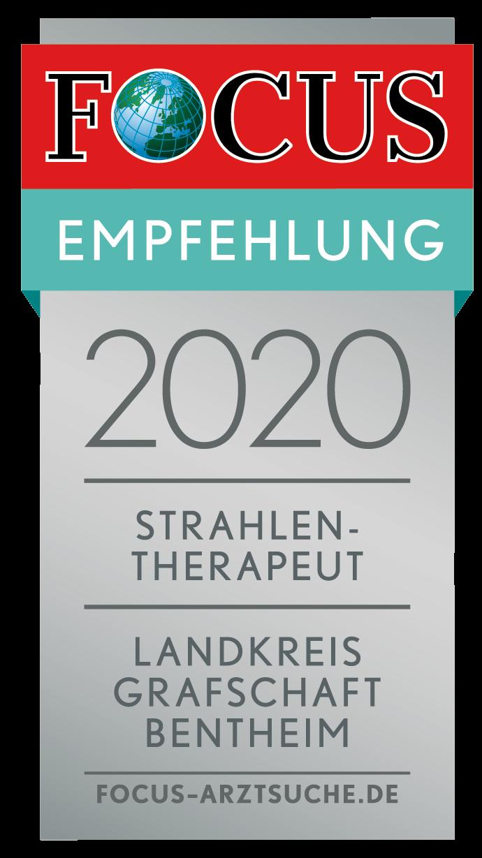 """FOCUS-Empfehlungssiegel Strahlentherapeut im Landkreis """"Grafschaft Bentheim"""""""